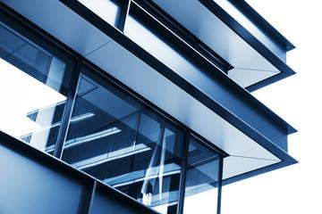 Corner of modern industrial building facade