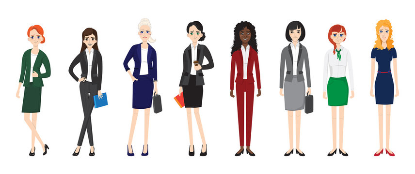 attractive young women in elegant office clothes. vector illustration