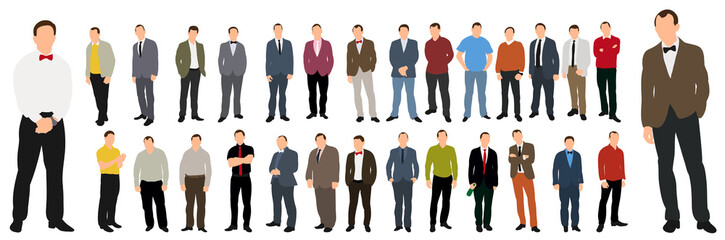 Vector, illustrations, collection of men without faces