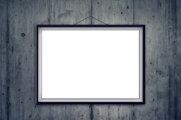Blank picture frame on art gallery concrete wall