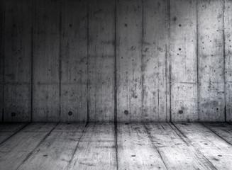Empty grungy concrete room