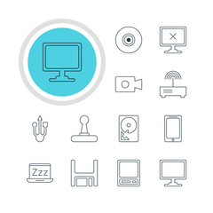 Vector Illustration Of 12 Computer Icons. Editable Pack Of Objective, Screen, Diskette And Other Elements.