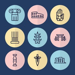 Set of 9 ancient outline icons
