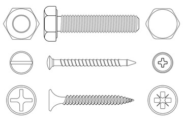 Bolt, screws and nut. White outline icons