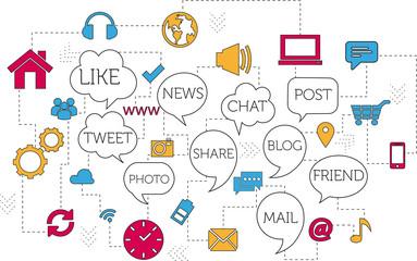 Flat line design concept - Social Media, Marketing, Icon