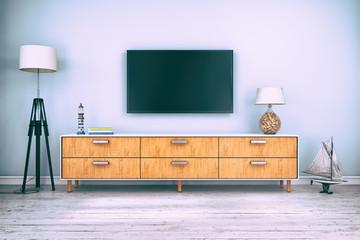 Skandinavisches Sideboard skandinavisches, nordisches wohnzimmer mit einem sideboard und