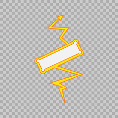 Thunderbolt sign on tranparent background. Vector Superhero Sign. Flash Icon. Color Flat Vector Icon of Power