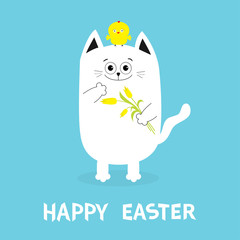 Happy Easter Greeting card. Cat holding yellow tulip flower and chicken bird set. Baby chick bird friends. Cute cartoon funny character. Blue background. Flat design.