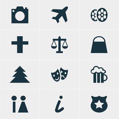 Vector Illustration Of 12 Check-In Icons. Editable Pack Of Scales, Photo Device, Aircraft And Other Elements.