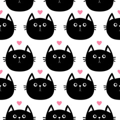 Black cat head with little pink heart. Cute cartoon character. Baby pet collection. Seamless Pattern Wrapping paper, textile template. White background. Flat design.