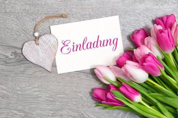 Tulpen und Karte: Einladung