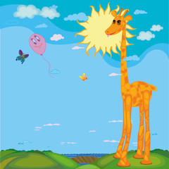 Giraffe, air balloon and flying butterflies with shining sun in background. Cute long-necked giraffe in African savannah. Vector Illustration