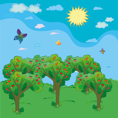 Apple trees with red apples and flying butterflies under sun. Vector Illustration
