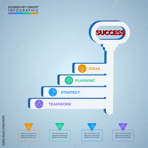 Key stairs business concept infographics template  Key to success