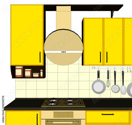 Phenomenal Kitchen Close Up With Round Hood And Yellow Cabinets Download Free Architecture Designs Jebrpmadebymaigaardcom