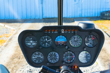 Helicopter dashboard. Travel, flight concept
