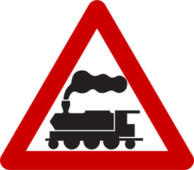 Warning sign with train