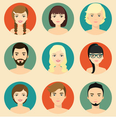 Set of people avatar collection. Vector flat illustration