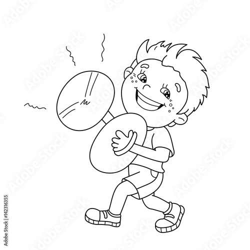 "kid playing band instruments coloring pages | ""Coloring Page Outline Of cartoon Boy playing the cymbals ..."