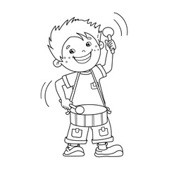 Coloring Page Outline Of cartoon Boy playing the drum. Musical instruments. Coloring book for kids