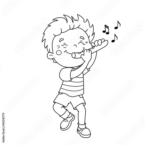 Coloring Page Outline Of cartoon Boy playing the flute Musical