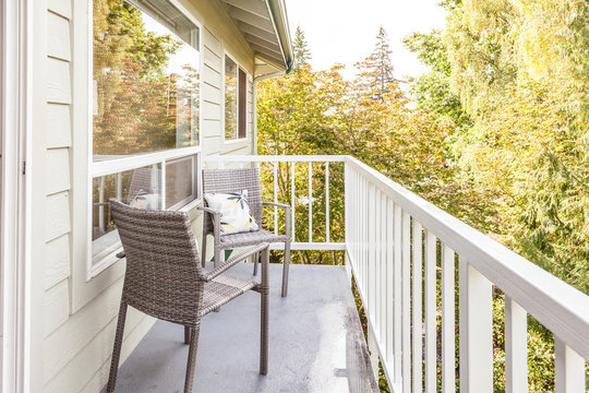 small balcony with furniture