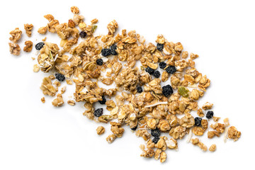 Muesli or Granola Scattered on White Top view