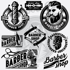 Set of templates for barbershop. Barbershop logo, vector illustration.