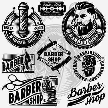 Set of templates for barbershop. Barbershop logo, vector illustration.
