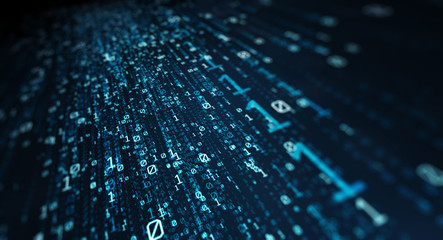 Binary code  background/Blue bytes of binary code flying through a vortex, background code depth of field