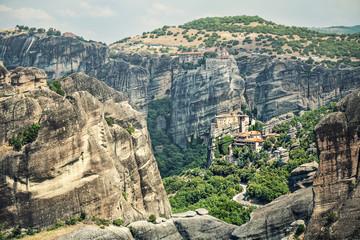 Panoramic view of Meteora monasteries on the rocks of volcanic origin. Greece.