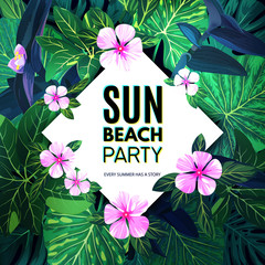 Bright summer tropical background with exotic palm leaves and pink flowers. Jungle vector floral party flyer template.