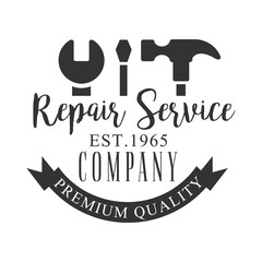 Premium Quality Repair and Renovation Service Black And White Sign Design Template With Text And Tools Silhouettes