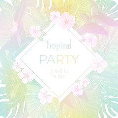 Pale vector tropical party flyer template with palm leaves and exotic flowers.