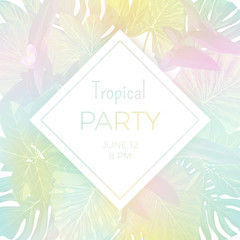 Light vector hawaiian party flyer with palm leaves and exotic tropical plants.