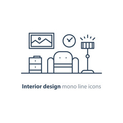 Simple interior, apartment design services, line furniture icons set