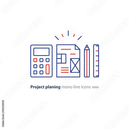 Business plan concept design blueprint calculator pencil and business plan concept design blueprint calculator pencil and ruler icons malvernweather Image collections