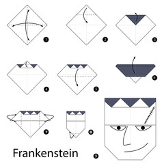 Step by step instructions how to make origami Frankenstein.