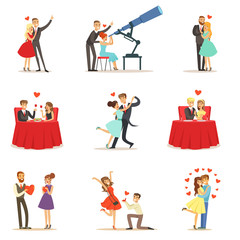 Couples In Love Romantic St. Valentine s Day Date, Lovers And Romance Collection Of Vector Illustrations