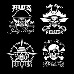 Pirate skull and Jolly Roger flag icon set design