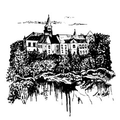 Drawing landscape view of the castle  Hruba Skala in the Bohemian Paradise on the shore of a stony precipice, in the Czech Republic, sketch, hand-drawn vector illustration