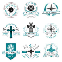 Easter greeting element crucifix cross vector icon