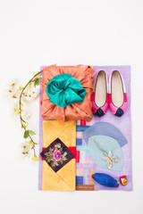 Korean traditional gift box on Silk background