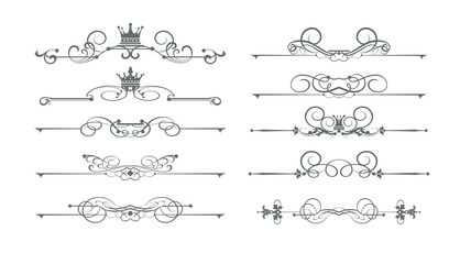 Old-fashioned decorative elements, calligraphic, border, line, rules, frame. Vector set for Your design