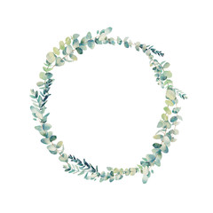 Watercolor eucalyptus wreath. Hand painted floral round frame isolated on white background.