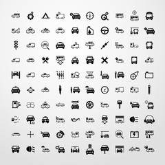 transport icon 100 set illustration isolated vector sign symbol