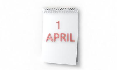 Calendar of 1 april concept, 3d render