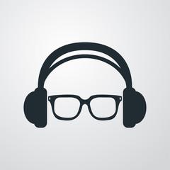 Icono plano auriculares con gafas en fondo degradado