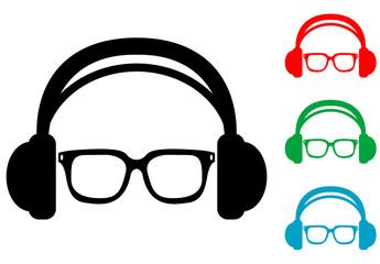 Icono plano auriculares con gafas varios colores