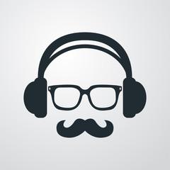 Icono plano auriculares con gafas y bigote en fondo degradado